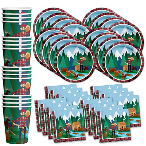Lumberjack Birthday Party Supplies Set Plates Napkins Cups Tableware Kit for 16 -