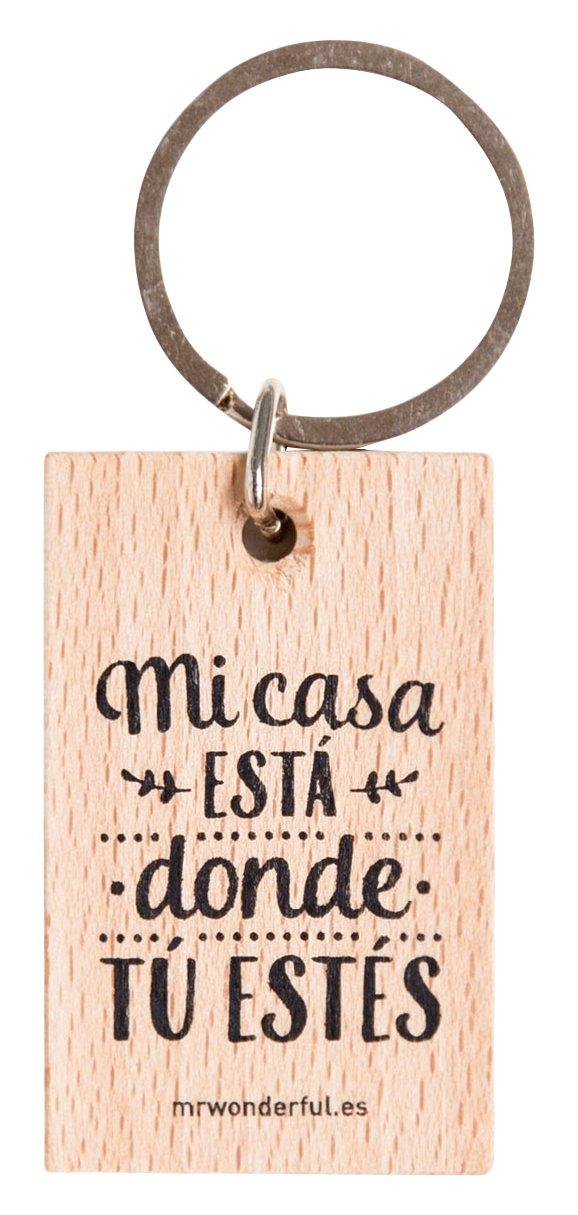Mr.Wonderful Mi Casa Está Donde Tú Estés Llavero, Color Marrón