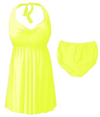 9eae2c9dccb Sanctuarie Designs Neon Yellow 2-PC Halter Style Plus Size Swimdress 1xT