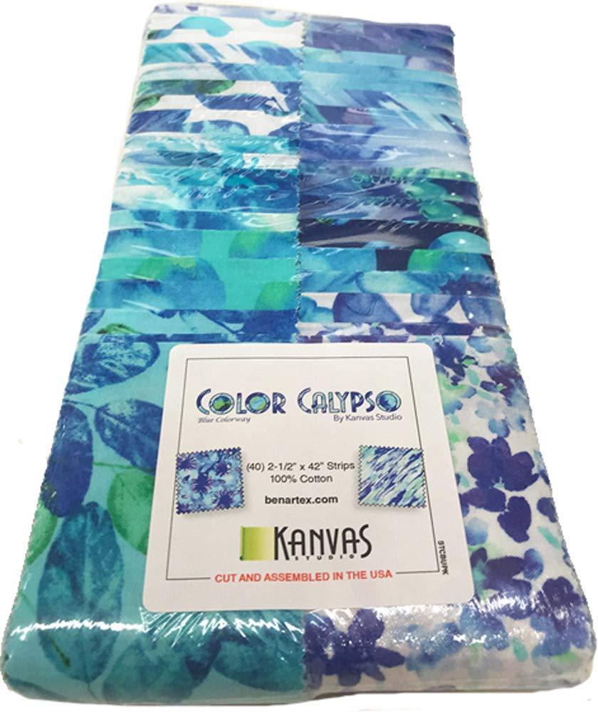 Kanvas Studio Color Calypso Blue Strip-Pies 40 2.5-inch Strips Jelly Roll Benartex