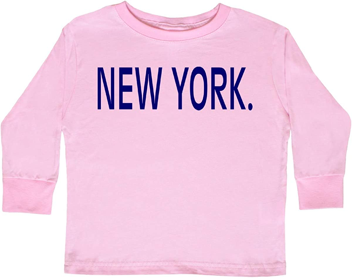 inktastic New York in Blue Text Toddler Long Sleeve T-Shirt