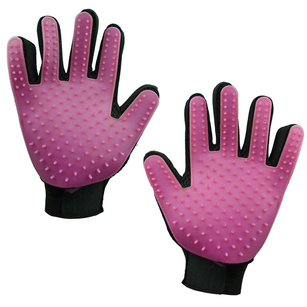 [Better than Upgraded] Pet Grooming Glove-Gentle De-shedding Brush-Hair Remover doubles as Massage/Bath Mitt w/5 Finger Design-For Dogs, Cats & Horses w/Long or short hair w/hair collection poop bags