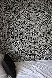 Labhanshi Elephant Mandala Indian Traditional Hippie Cotton Tapestry, Black and White, Queen
