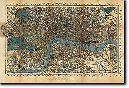Vintage London Map From 1860 Photo Print Poster Unique Gift Size