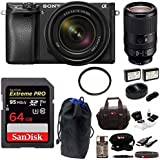 Sony α6300 Mirrorless Digital Camera (Black) with 18-135mm and SEL70300G Lens