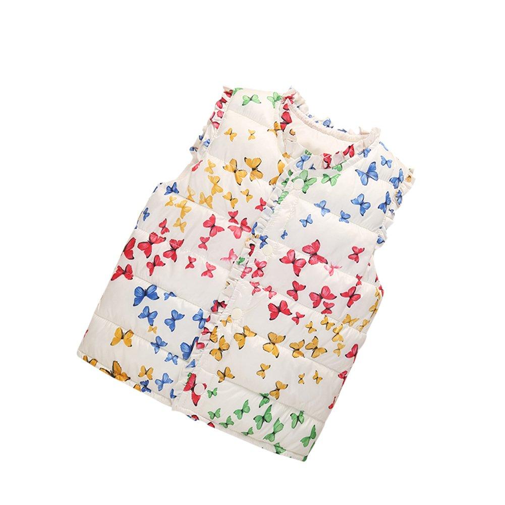 BOBORA Baby Little Girls Vest Coat Kids Butterfly Printings Down Waistcoat 1-6Years BON-N-1653