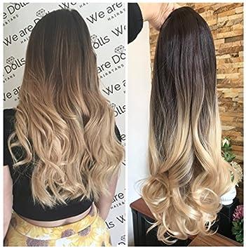 Amazon Com 24 Inches Half Head Wig Long Curly Wavy Ombre Dip Dye 3