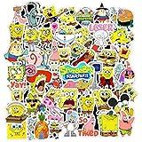 MOQIAN Kids Cartoon Laptop Stickers 50pcs, Spongebob Squarepants Girl/Teen Vinyl Computer Waterproof Water Bottles Travel Case Skateboard Luggage Decal Graffiti Patches Decal