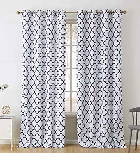 HLC.ME Lattice Print Thermal Insulated Blackout Room Darkening Window Curtains for Bedroom - Platinum White & Navy Blue - 52 W x 96 L - Pair