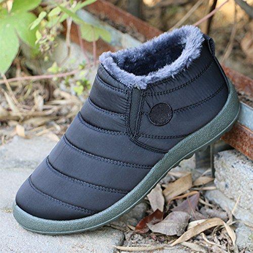 Piatto Sportive Sneakers Caviglia Blu Nero Scarpe da Invernali Marrone uomo Boots Scarpe Uomo Stivaletti Rosso Stivali BOZEVON Donna Adulto Caldo Neve Nero Moda Unisex wyxUqzZwO0