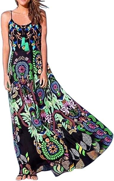 TUU Women V-Neck Sleeveless Print Long Maxi Dress Bohemia Summer Dress