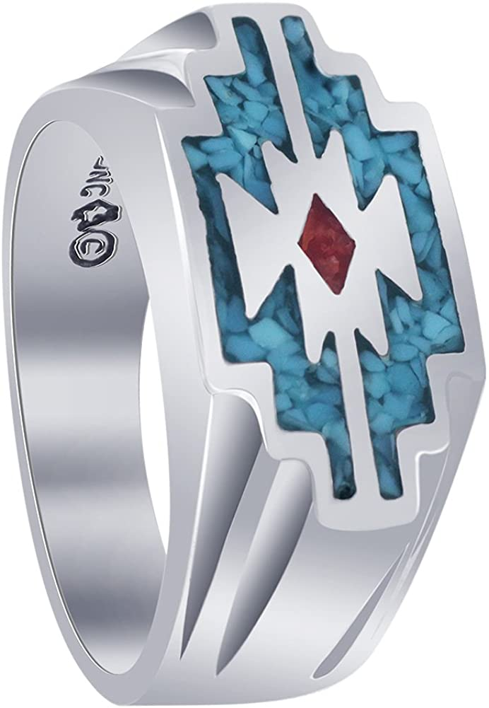 Men's Southwestern Style Turquoise Coral Gemstone Sterling Silver Ring