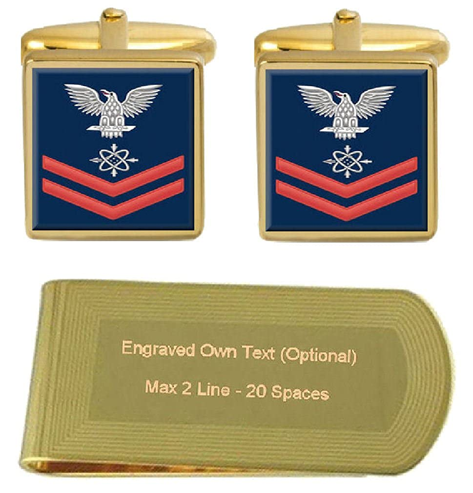 Select Gifts Cufflinks Engraved Money Clip U.S Navy Red E-5 Data Systems Technician DS