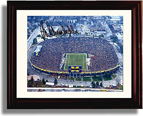 (Framed Michigan Wolverines The Big House Bo Schembechler Autograph Replica Print)