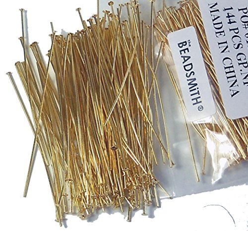 400 Head Pins .020dia X 1 Inch Gold Plating Over Brass Thin 24 Gauge Wire Beadsmith Headpins