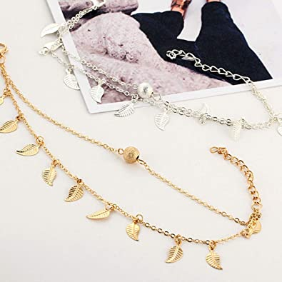 Pretty.auto Women Ladies Girls Vintage Fringed Leaf Lucky Anklets Adjustable Silver Gold Foot Chain