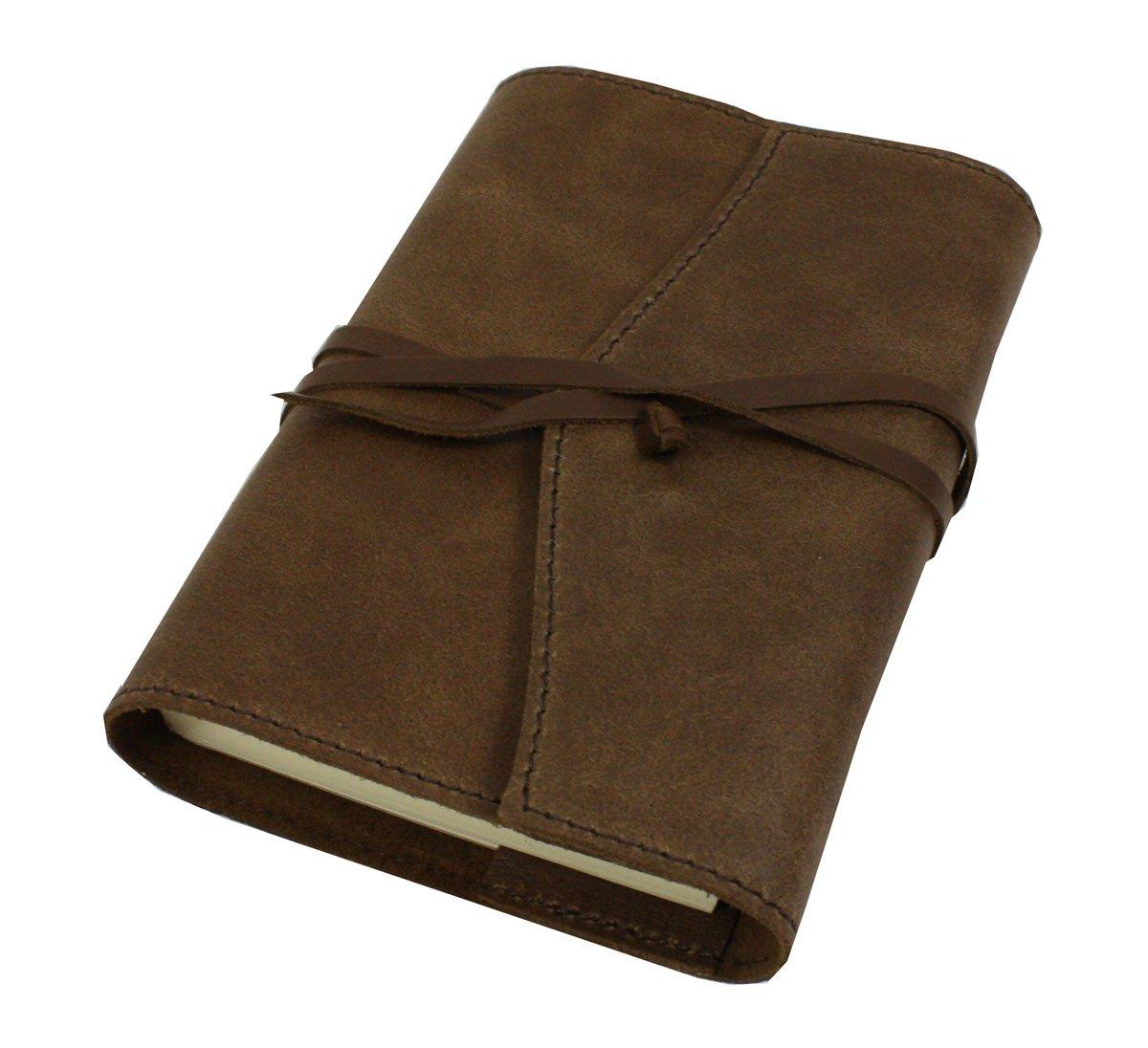 Papuro Milano Refillable Handmade Italian Chocolate Brown Leather Address Book - 9 x 13 cm