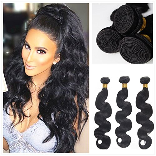 JinXiu Hair Brazilian Wet And Wavy Hair Body Wave 3 bundles Human Hair Extensions Remy Hair Bundles Natural Color 3 Bundles/lot, 300g Total (100g Each) Grade 7A(12 14 ()