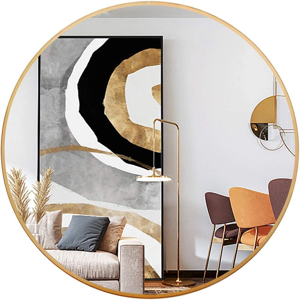 Vlush 24 Inch Large Round Wall Mirror, Circle Mirror for Living Room, Entryway, Bedroom, Bathroom, Vanity Mirror - Gold