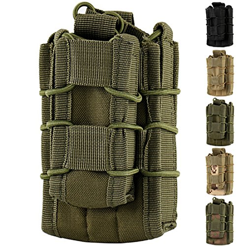 Hoanan Double Mag Pouch, Tactical Molle Magazine Pouch Open-Top Single Rifle Pistol Mag Pouch Cartridge Clip Pouch Hunting Bag (Upgraded Version-Olive)