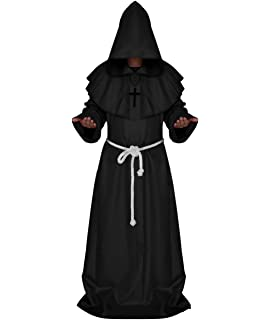 Friar Medieval Cowl Hooded Monk Priest Renaissance Robe Halloween Costume Cloth~