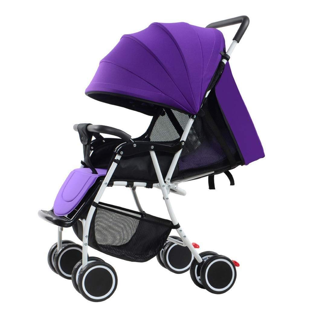 WDOPZMS Baby Stroller for Children - Lightweight Foldable Baby Stroller, Newborn Infant Pushchairs Kid Jogger Travel Buggy Lockable Wheels & Spacious Adjustable Hood Lying Position (Color : Purple)