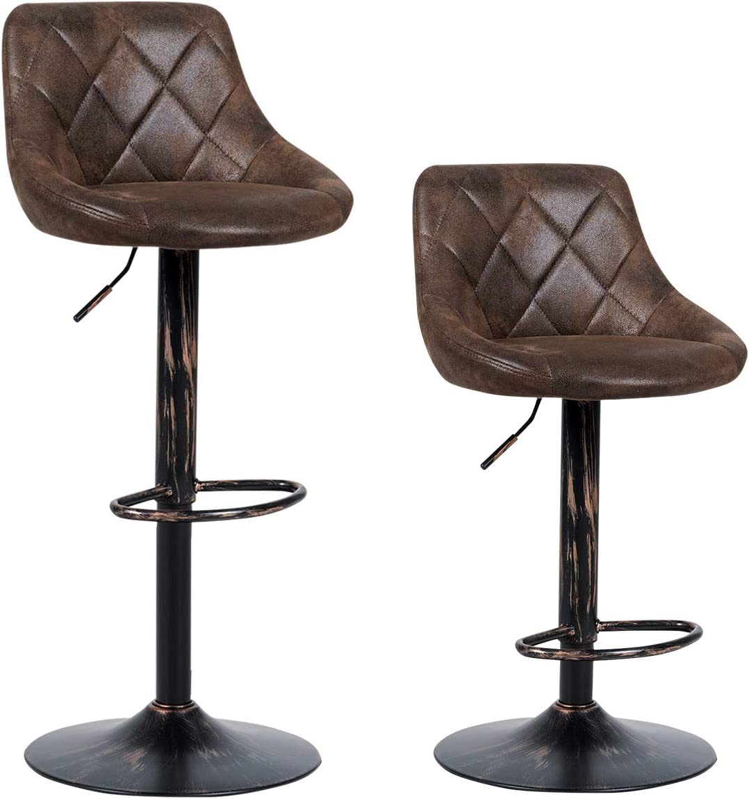 COSTWAY Set of 2 Adjustable Bar Stools, Swivel Bar Chairs with Backrest and Footrest, Counter Height Chairs for Bar, Kitchen, Dining Room, Living Room and Bistro Pub, Retro Brown