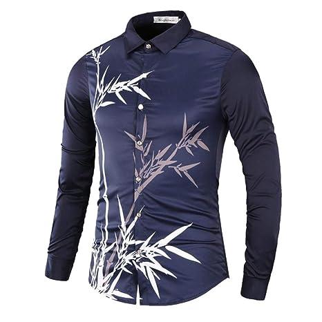 WWricotta Camisa para Hombre Negocio Camisetas de Manga Larga Originales Estampado de Bambú Moda Casual Slim