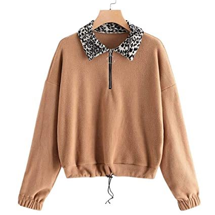 ZJSWCP Sweatshirt Women Plus Size Warm Fluffy Winter Casual Zip Up Sweatshirt Pullovers Outwear Sudadera Mujer