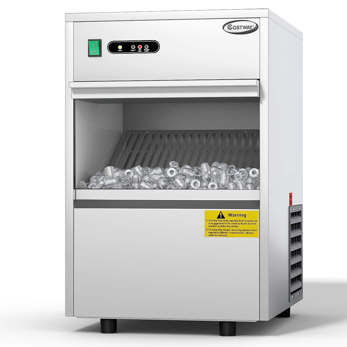 COSTWAY Commercial Ice Machine, 58LBS/24h Freestanding Portable Stainless Steel Ice Maker Machine Under Counter Ice Machine for Restaurants Bars (58LBS/24h)