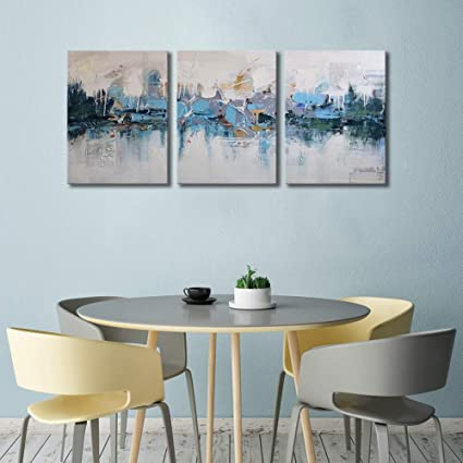 ARTLAND Modern Framed Abstract Oil Painting Blue Villages 3 Piece Gallery Wrapped Wall Art