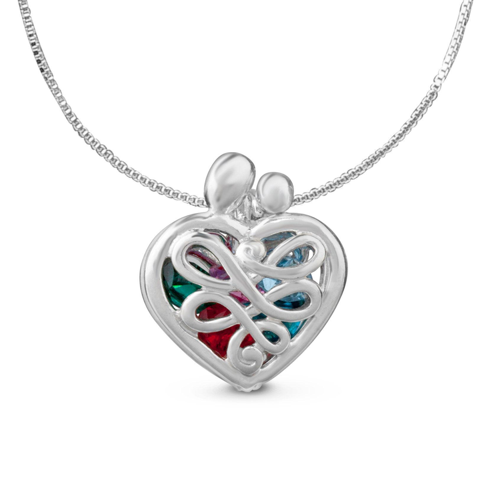 Loving Family - Sterling Silver Small Heart Locket with 12 Birthstones - 20'' Long