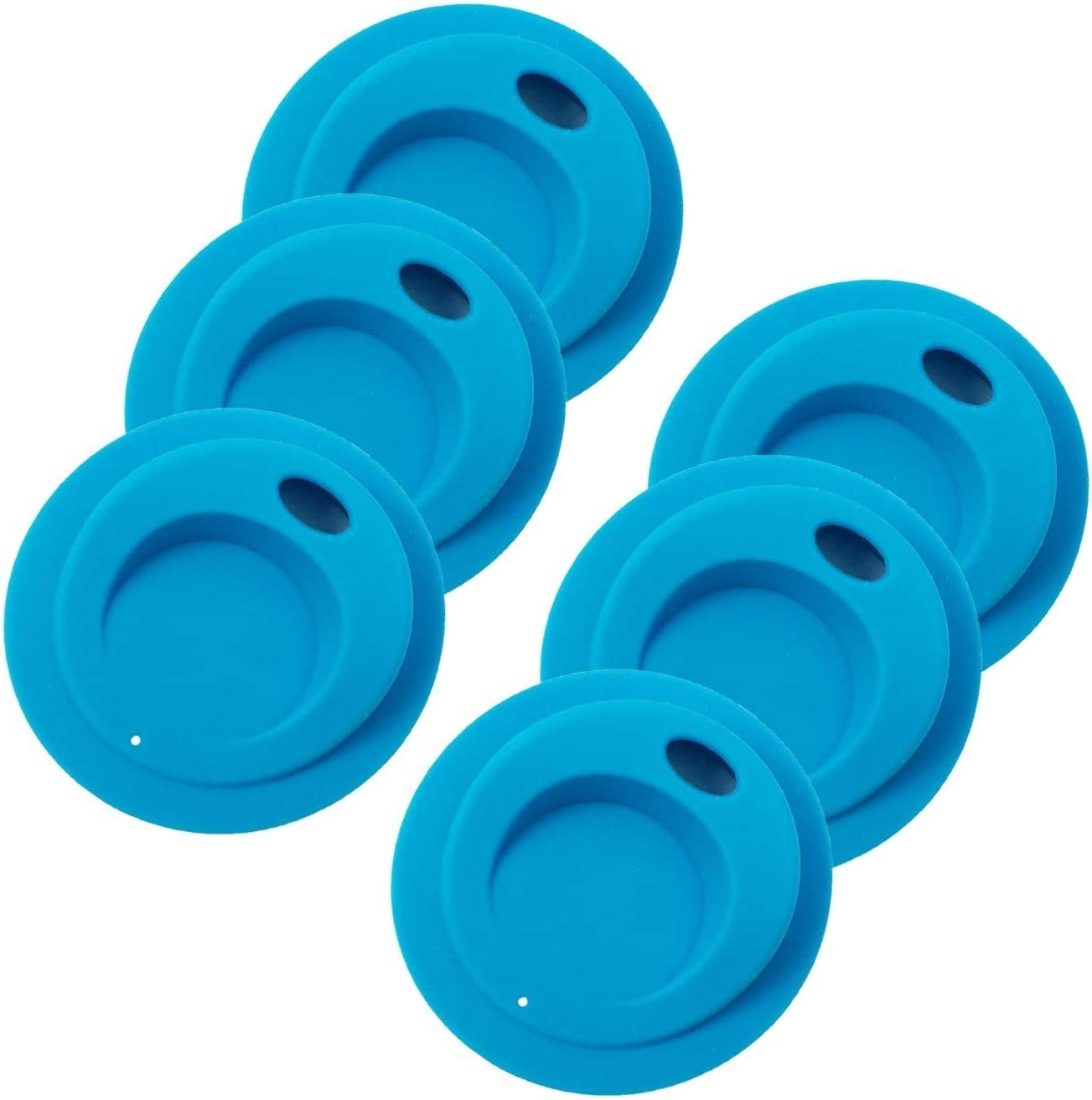 THINKCHANCES Reusable Food Grade and BPA Free Silicone Oval Straw Hole Sip Coffee Juice Drinking Lid for Mason, Ball, Canning Jars (Wide Mouth, Blue Ocean),6 Pack