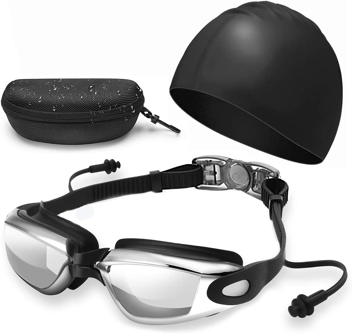 Mirror Swimming Goggles Anti-Fog Swim Glasses UV Protection with Ear Plug Adult