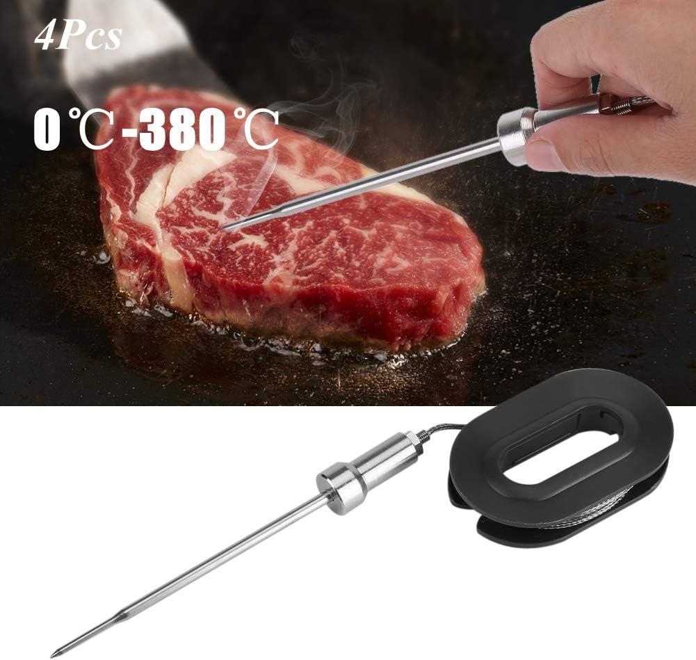 Sondas de termómetro Bluetooth digitales de 4 piezas, sonda de prueba de temperatura de cocción de alimentos de cocina Bluetooth de lectura instantánea, 0 ℃ -380 ℃ Aguja de termómetro para carne BBQ