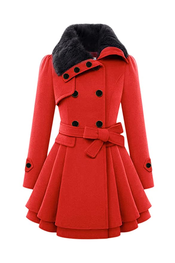 Amazon.com: Mupoduvos Women Elegant Lapel Double Breasted Belted Tunic Wool Outerwear Coats: Clothing