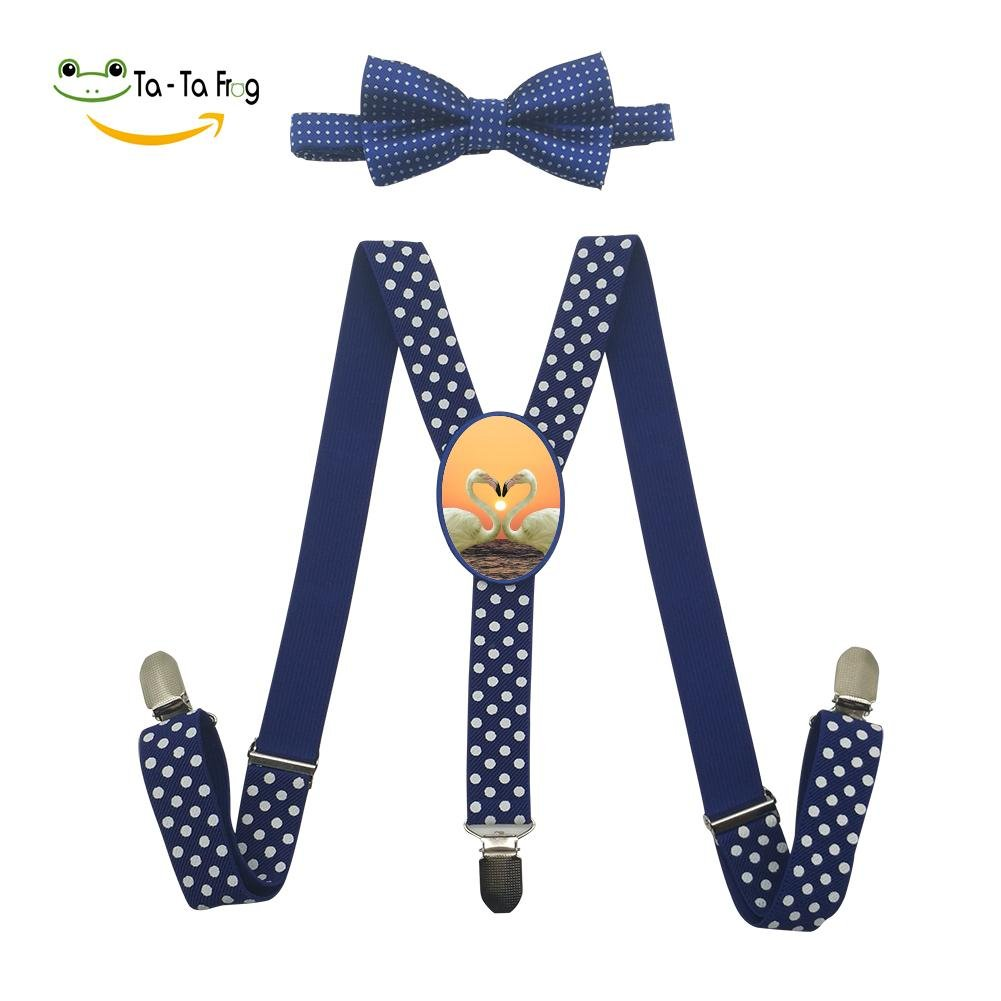 Xiacai Love Flamingo Suspender&Bow Tie Set Adjustable Clip-On Y-Suspender Kids
