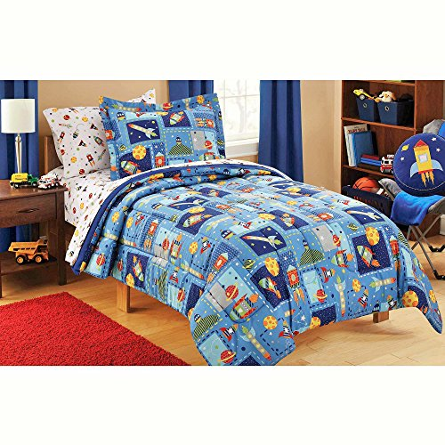 Mainstays Kids 5-Piece Boy Blue Space Bed in a Bag Coordinat