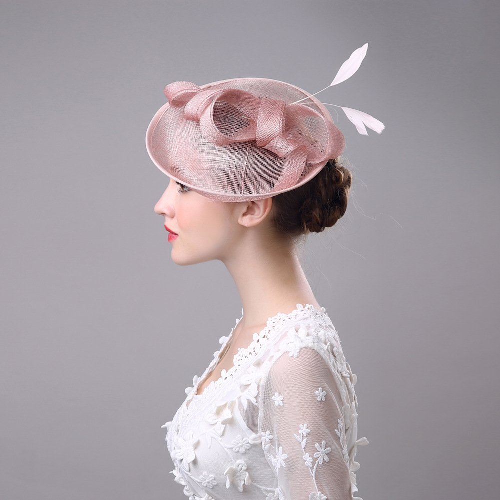 Women's Vintage Fascinators Hat Flower Mesh Ribbons Feathers with Clip for Wedding Bridal Headware by Hoxekle (Image #6)