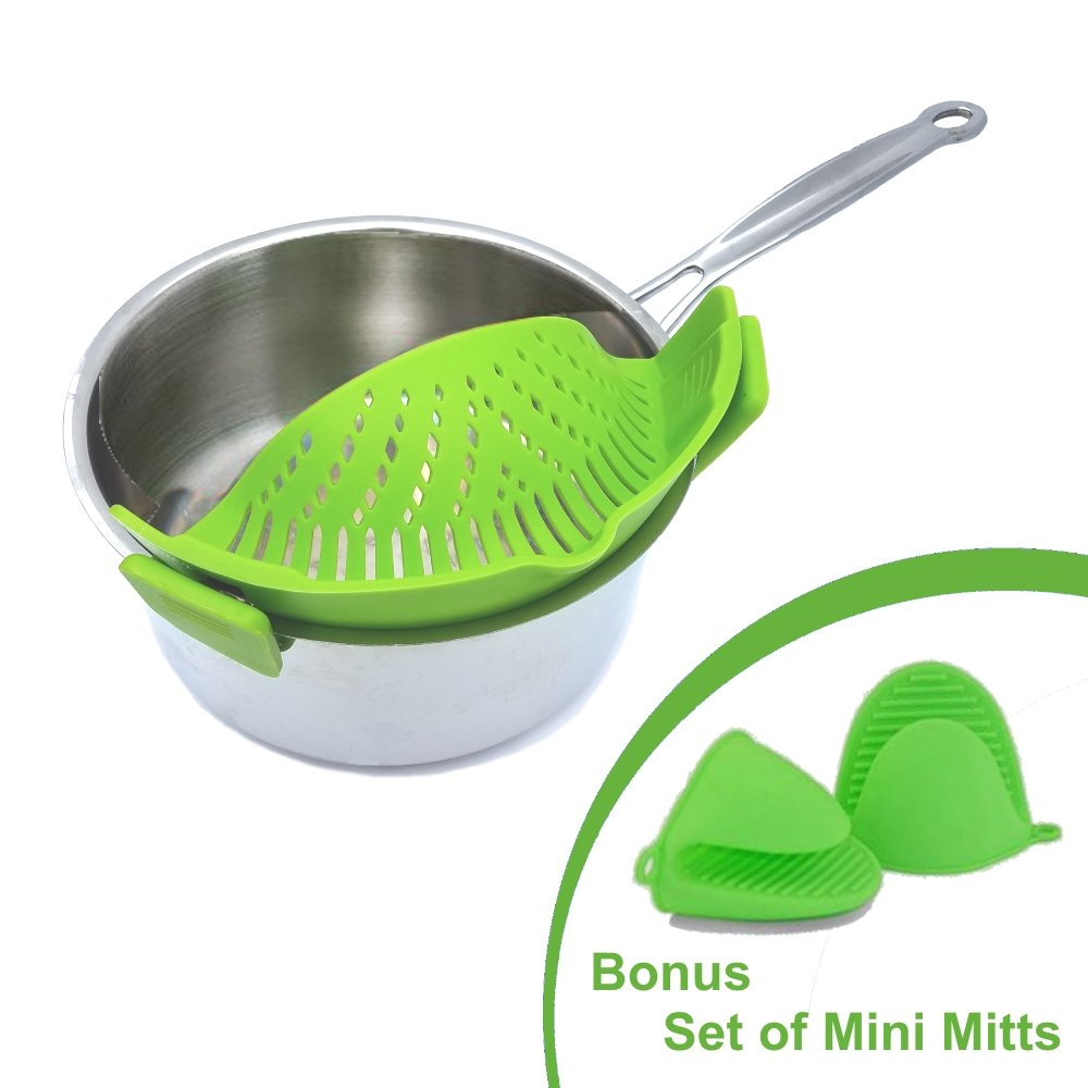 Clip and Strain by Chef JoJo, NEW IMPROVED No-hands Clip-On Silicone Strainer Colander. Fits all Pot Pan and Bowl Sizes. INCLUDES BONUS set of Silicone Oven Mini Mitt Pot Holders (Green)