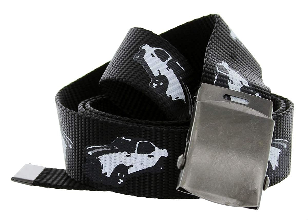 Muscle Car Print Canvas Web Fabric Belt with Metal Military Buckle BSC