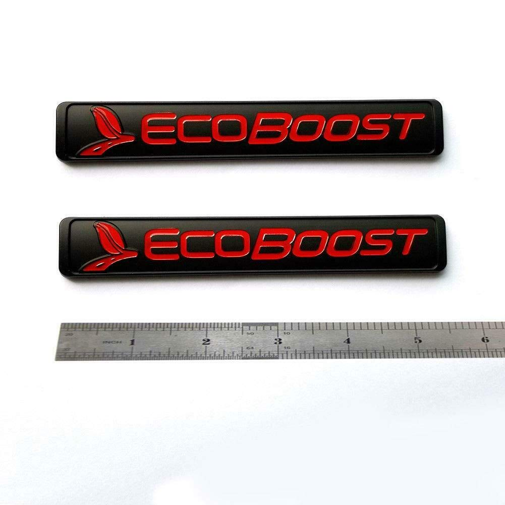 PAIR ECOBOOST RED DOOR F150 F250 F350 ECO BOOST EMBLEMS BADGES LOGOS RED BLACK