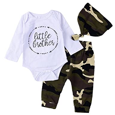 0c5d5234f5d6 Amazon.com  Aalizzwell 3Pcs Baby Boys Little Brother Arrow Romper+ ...