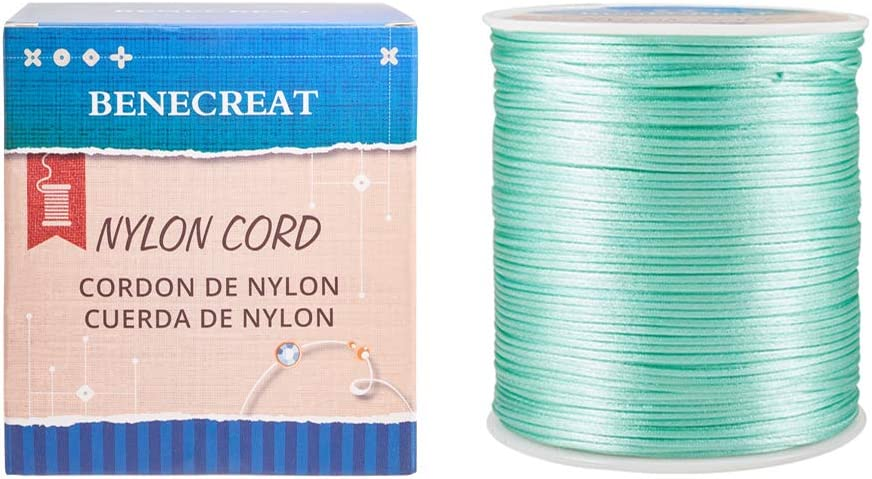BENECREAT 220 Yards 1mm Satin Nylon Trim Cord Nylon Rattail Satin Cord for Braided Beading Jewelry Making Coral