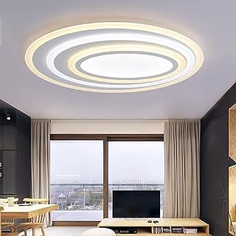 WENSENY LED Deckenleuchten 67W Acryl Deckenlampe Ultra Thin Runde  Deckenleuchte Creative Wohnzimmer Leuchten Edelstahl Esszimmer Restaurant  Lampen 50 Cm ...