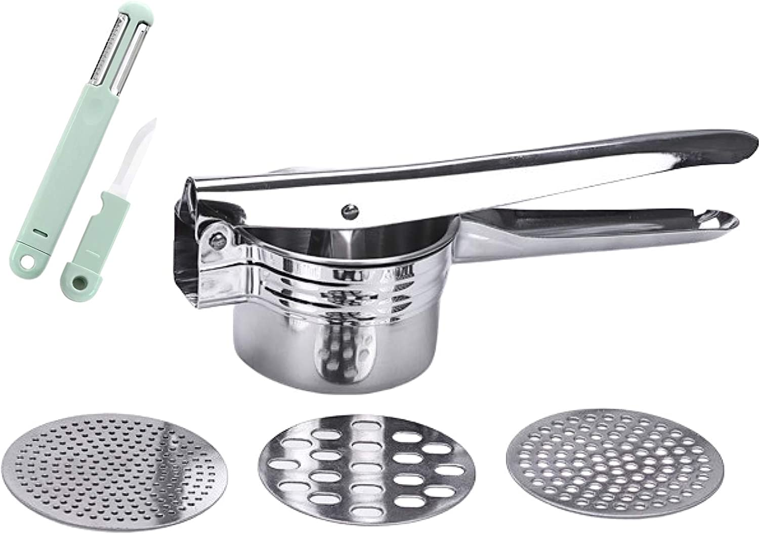 Menurto Potato Ricer with 3 Function Knife, Stainless Steel Potato Masher with 3 İnterchangeable Discs, Gnocchi Maker, Spaetzle Press, Easy to Use Hand Press for Baby Food, Cauliflower, Potatoes