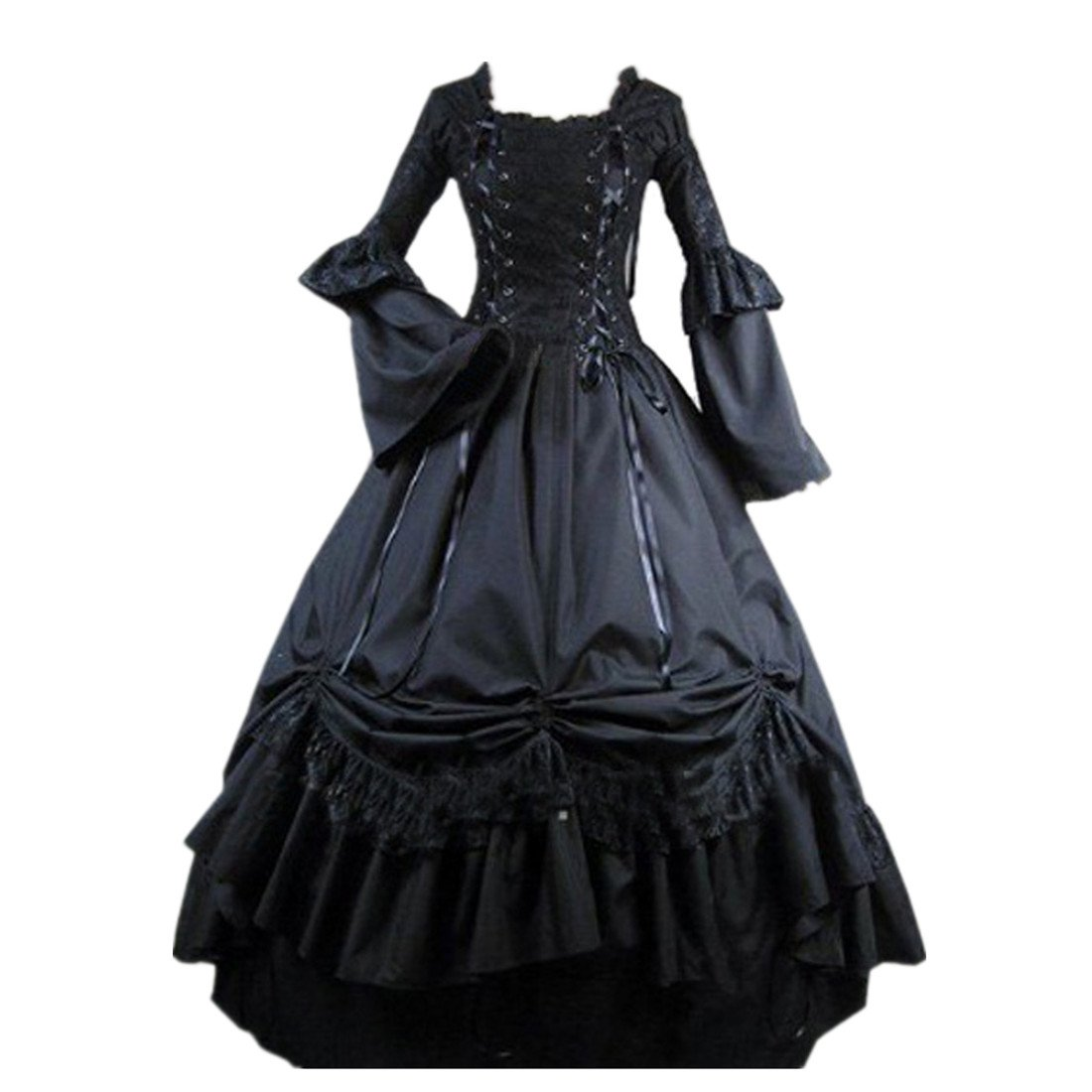 Cozy Age Women's Long Sleeves Lace Bandage Square Collar Victorian Dress