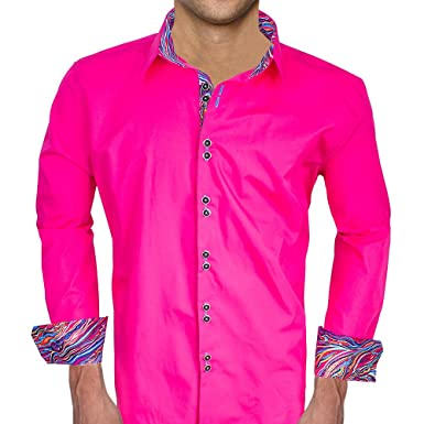 c0b8ae73 Bright Pink with Multi-color Designer Dress Shirt - Made in USA (XS Modern