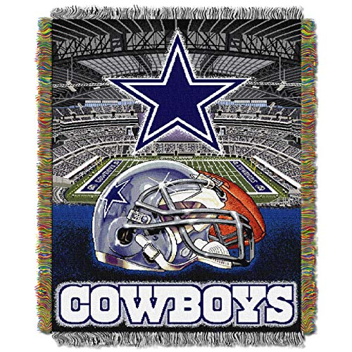 y Officially Licensed NFL Dallas Cowboys Home Field Advantage Woven Tapestry Throw Blanket, 48