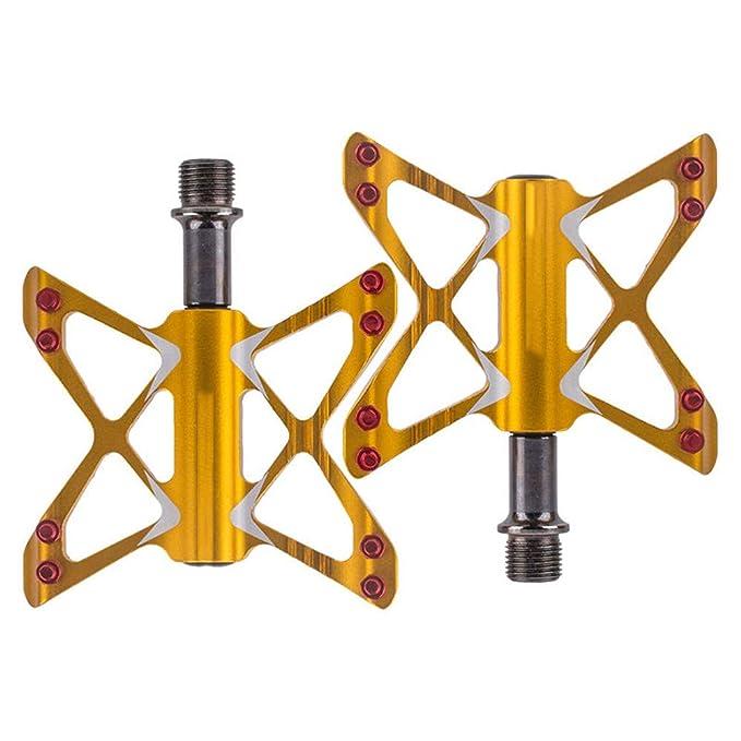 pedales de bicicleta Mountain Bike Scooter MTB inyección aleación de magnesio Cr-Mo CNC mecanizado 9/16 pulgadas husillo roscado, 2 rodamientos de súper ...